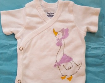 sidesnap baby shirt handpainted with Mother Goose