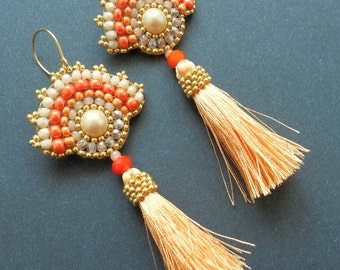 Sunny Apricot Earrings with Pearls and Tassels