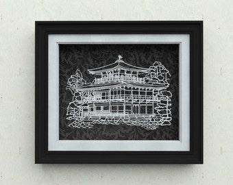 Original paper cutting art for home decor - Kyoto Japan Kinkaku-ji (Golden Pavilion) papercut wall art