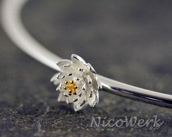 Silver Bangle Bracelet flower Cuff Bracelet 925 ladies jewelry gift 359
