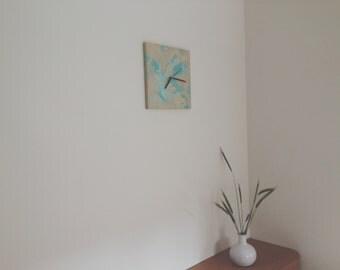 Canvas wall clock, Artistic clock, Wall Decor, Unique clock, Modern Clock, Wedding gift, Housewarming gift