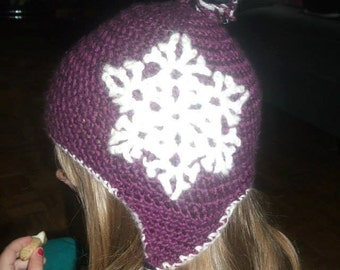 Crochet Earflap Hat with Snowflake