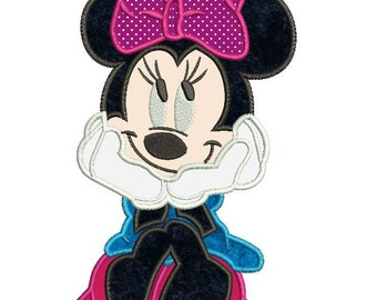 Sweet Minnie Mouse Applique Machine Embroidery Design 3 sizes instant download