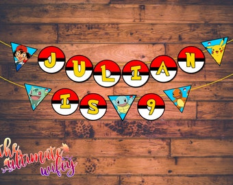 Pokemon CUSTOMIZED Name & Age Banner