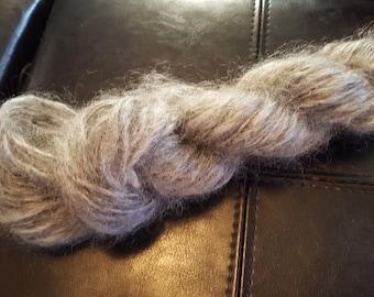 weaving chunky weight grey hand spun mohair wool