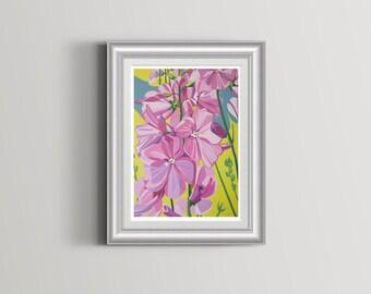 Bright Pink Flowers Art Print on hot Summer Day Botanical print wall art