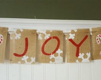Joy Burlap Banner, Joy Banner, Holiday Banner, Christmas Garland, BSC-046