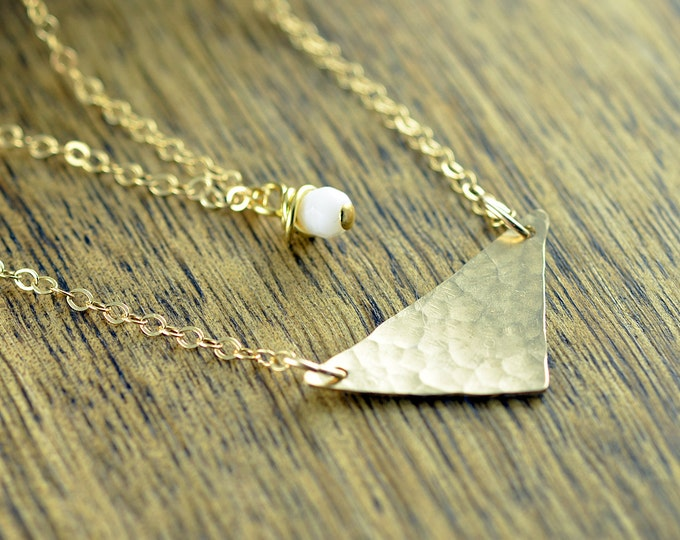 Gold Layered Necklace  - Geometric Necklace - Layered Jewelry - Gold Triangle Necklace - White Stone Necklace - Everyday Necklace