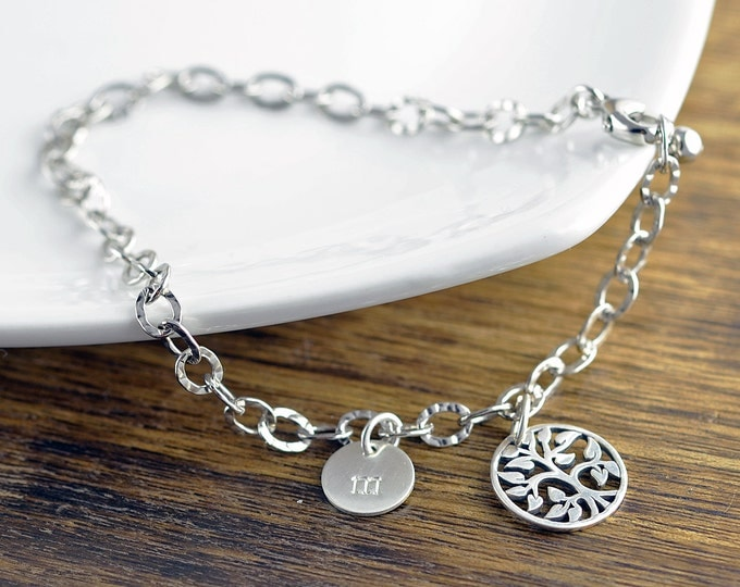 silver family tree  bracelet - tree of life bracelet -  family tree jewelry - grandmother gift - gifts for mom - mom gift - initial bracelet