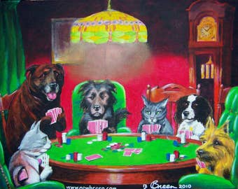 Pet painting! YOUR dogs or cats playing poker!