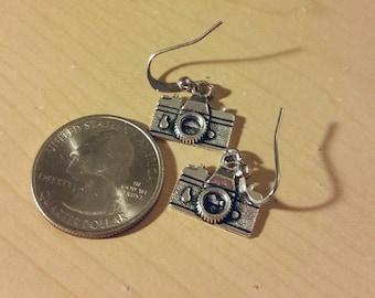 Camera earrings silver
