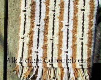 Vintage Beige Brown White Crocheted Throw, Fringe Retro, Bohemian Blanket