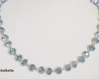 Sparkling glass Pearl Necklace blue sparkling necklace gift polished glass beads sparkling necklace irrisierend glitter