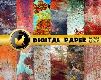 Rusty Metal Texture,Rusty Metal Digital Paper,Rusty Scrapbook Paper,Сracky Rusty Background,Rusty Metal Backdrop,Old Metal Background,Rusty