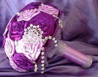 Purple satin brooch bouquet