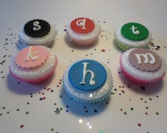 Fondant Cupcake Topper, Initial Fondant Cupcake Topper, Monogram Cupcake Topper, Edible Fondant Letters, Fondant Letter Cupcake Topper