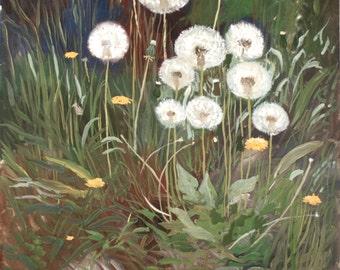 Great gouache painting Spring dandelion  Ukraine ORIGINAL art