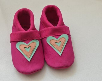 Hearts, kids slippers, baby shoes, baby shoes, House shoes, children's shoes, leather shoes,