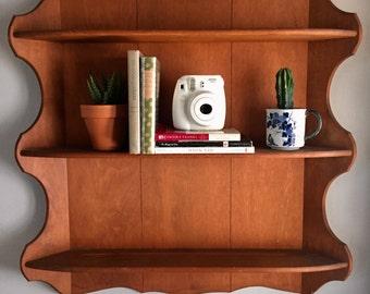 Mid Century Wood Shelf, Vintage Wood Book Shelf, Vintage Shelf