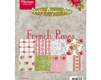 Block of 32 papers 15 x 21 cm Marianne french Design ROSES