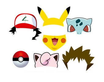 Pokemon Photo Booth Props; Set 7 pieces; Instant Download; High Resolution, signs, Pikachu Photobooth Props, Ash, Pokemon Go,Birthday Party