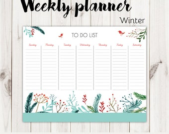 Weekly Planner, To do list for all seasons, digital prints, instant download
