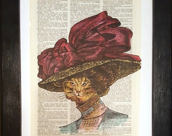 Coy Cat - Victorian collage on dictionary page - vintage prints