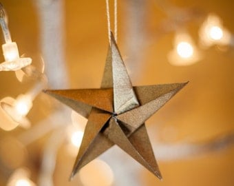 Origami Bronze Star Christmas A6 Greetings Card