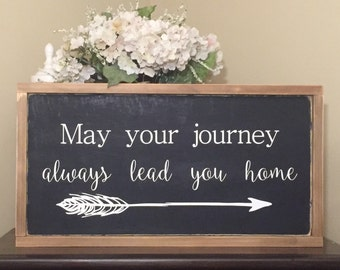 "25.5""x13.5"" May Your Journey Always Lead You Home/wood sign/word art/distressed sign/wall décor/rustic"