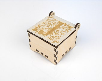 Wooden box, Small Secret Wood Box, (Engraved Letters - J), Gift Box With Lid, Jewelry box, Memory box
