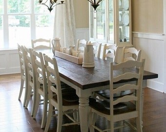 Farmhouse Table | Dining Table | Solid Wood Table | Turned Leg Table | Harvest Chunky Leg Table