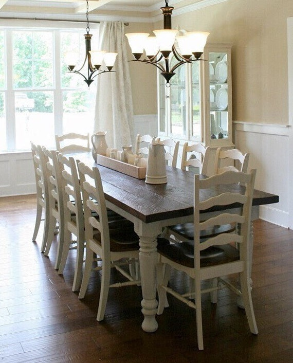 Farmhouse table dining table solid wood table turned leg for Solid wood farm table