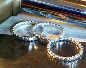 Sterling Silver Hammered Beaded Stacking Ring,  Beaded Ring, Silver Bubble Ring, 2mm dot ring, silver jewellery.