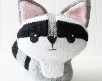 Raccoon Hand Knit Plush Toy - Soft Toy - Stuffed Animal - Stuffed Toy - Kawaii Plush - Woodland Nursery - Baby Shower Gift - Nursery Decor