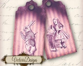 Pink Alice in Wonderland Tags Labels instant download printable images digital collage sheet - VD0091