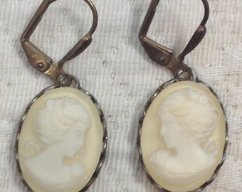 Cream - Cameo Earrings - Hand Dyed