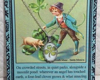 Four Leaf Clover Necklace on Poem Card
