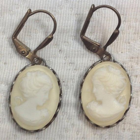 Cream - Cameo Earrings - Hand Dyed