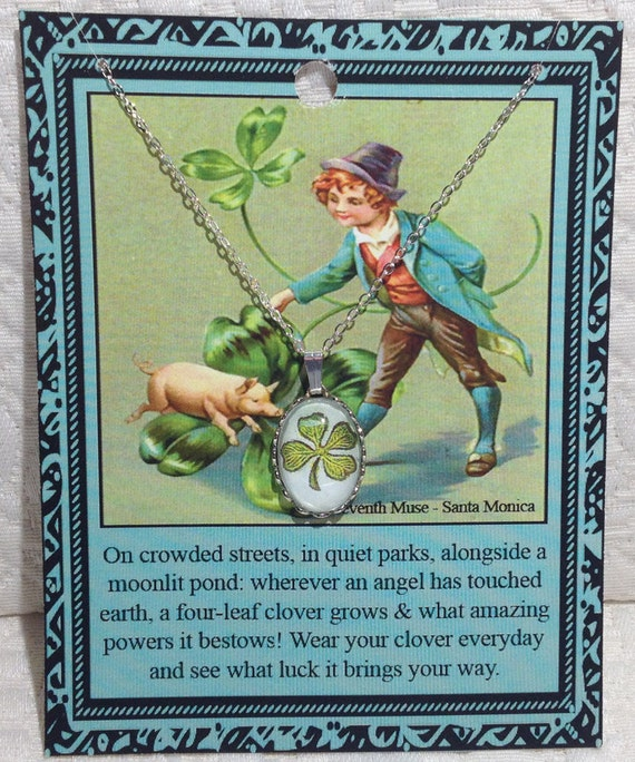 Four Leaf Clover Necklace on Poem Card