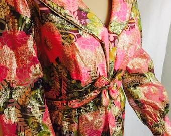 """70's Pink and Gold Glitter Maxi Dress. 32"""" Waist."""