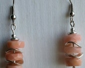 Natural faceted shell and silver NICKEL FREE earrings
