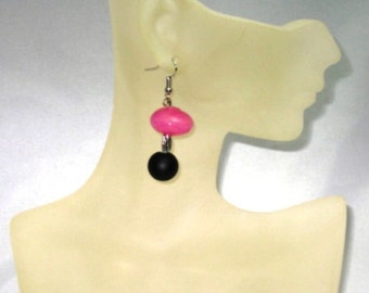 Pink and black Sew Forgiven earrings-PB019
