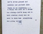 Original Card: Let's drink gin and eat noodles
