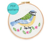 Embroidery Pattern, PDF Pattern Download, Blue Tit