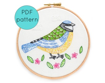 Blue Tit Bird Embroidery Pattern, PDF Instant Download Embroidery Pattern