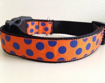 Orange and Blue Polka Dots Auburn Tigers or Florida Gators Large 1 inch Dog Collar