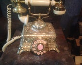 Telephone Princess Style Rotary Dial Radio Shack French Provincial Vintage 1970s Brass Old School Stage Prop Working