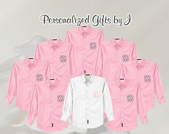 Monogrammed Oversized Bridal Party Shirt  Personalized Over Sized Shirt, Bridesmaids Gift, Bachelorette Party, Getting Ready Shirt, Oxford