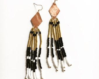 Copper Kite / Starry Night Beaded Fringe/ Gold Earrings/ Chandelier Earrings