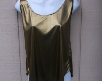 80s Liquid Gold Metallic Slouchy Tank top / blouse metallic shimmer tunic size med to large